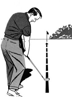 """Many shots stray because the golfer has rolled the wrists to the left--closing the clubface--during impact, or moved the club """"across the ball"""" through the hitting area. To eliminate these causes of misdirected shots, continue the clubhead along the targe Thema Golf, Volleyball Tips, Golf Practice, Arnold Palmer, Golf Videos, Golf Instruction, Golf Tips For Beginners, Golf Putting, Golf Exercises"""