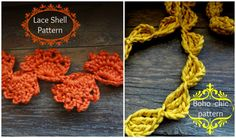 2 PDF Lace and Shell Crochet Patterns - crochet shell pattern, crocheted trims and edgings- crocheted bohemian necklacesinstant download