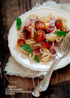 Pasta Carbonara with Prosciutto and Baked Tomatoes