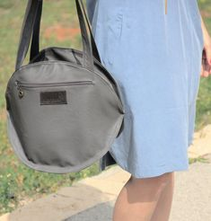 gray tote bag / backpack bag/ faux leather bag / by TahelSadot