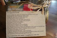 Survival Gift for a principal