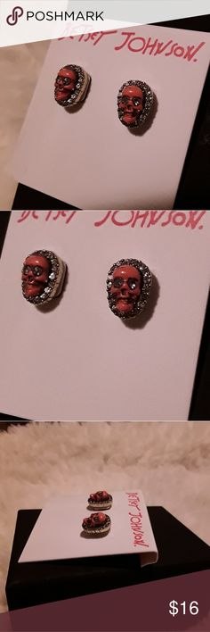 ☠New Betsey Johnson Crystal Skull Earrings!☠ Heavy little things! Very solid. Cute; everyone loves skulls right now! Betsey Johnson Jewelry Earrings