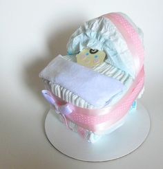 Diaper Cakes For Baby Showers   Baby Girl Shower Centerpiece Diaper Cake by SprinklesPaperieCo
