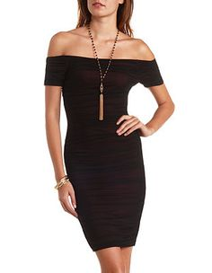 Off-the-Shoulder Ruched Mesh Bodycon Dress: Charlotte Russe