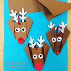 We ADORE Christmas Paper Crafts for Kids. Here is an amazingly comprehensive set of Paper Crafts for Kids. Origami, cards & more! Origami Reindeer, Reindeer Craft, Christmas Origami, Christmas Paper Crafts, Paper Crafts For Kids, Christmas Projects, Preschool Crafts, Kids Christmas, Holiday Crafts