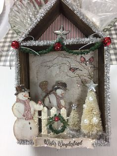 Christmas shadowbox diorama Tim Holtz vignette box snowmen. Paper used is Maja design, I wish to build a snowman. Designed by Rene Koehn of Vintage in KC store.
