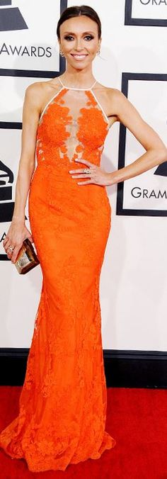 Who made Giuliana Rancic's orange gown and jewelry  that she wore to the 2014 Grammys?
