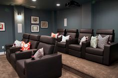 Cool color for Theater room Sherwin-Williams Refuge SW 6228 Movie Theater Rooms, Home Cinema Room, Home Theater Setup, Home Theater Seating, Home Theater Design, Theatre Rooms, Basement Movie Room, House Of Turquoise, Turquoise Nursery