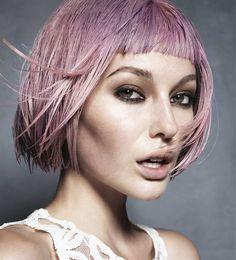 Short Grey straight coloured multi-tonal pink bob womens haircut hairstyles for women