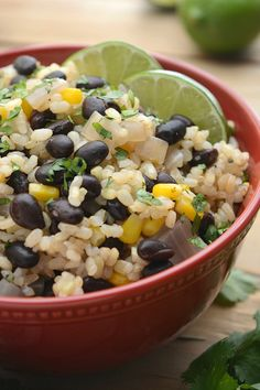 Quick and easy, 30 minute Black Beans and Lime Rice! With a few simple ingredients you've got a great week night dinner, and leftovers make for an ideal lunch! The beans are perfectly spiced with cumin, paprika and optional cayenne. The lime rice add Vegan Mexican Recipes, Vegetarian Recipes, Healthy Recipes, Healthy Rice And Beans Recipe, Vegan Black Bean Recipes, Vegetarian Kids, Weeknight Recipes, Lentil Recipes, Fast Recipes