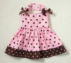 S Pretty Pink and Brown Polka Dot Dog dress clothes pet apparel Small PC Dog®