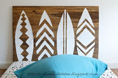 Surfboard Headboard / Wall Art for our guest room.