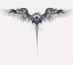 Arm tattoo, wing tattoos on back, chest tattoo, map tattoos, spine tattoos Tattoo Side, Nape Tattoo, Spine Tattoos, Chest Tattoo, Body Art Tattoos, Small Tattoos, Tattoos For Guys, Wings Tattoo Back, Tattoo Art