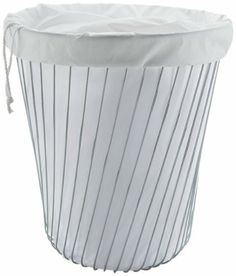 "A Tempo Laundry Basket by Alessi. $187.00. Approximate size: H.18"" X D.15.5"". Fabric lining. Chrome-plated stainless steel. APD05 Color: White Pauline Deltour (born in 1983, Landerneau, France) studied applied art and design at the Olivier de Serres (ENSAAMA) in Paris (2001-3) and holds a Bachelor's degree in industrial design from the Ecole Nationale Supérieure des Arts Décoratifs (ENSAD) in Paris, Between 2006-2009, she worked as a designer and a project leader at Konstant..."