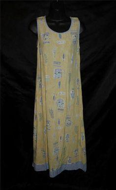 Vintage M L Carol Anderson Yellow Blue Tea Cup Leaf Maxi Dress Jumper Sleeveless