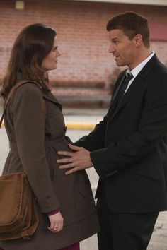 "Brennan (Emily Deschanel) and Booth (David Boreanaz) from the ""The Prisoner In The Pipes"" episode of BONES on FOX."