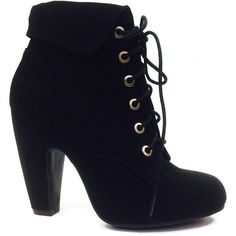 Bamboo Black Mozza Lace-Up Bootie ($22) ❤ liked on Polyvore featuring shoes, boots, ankle booties, ankle boots, heels, black heel booties, high heel bootie, lace up booties and black ankle booties