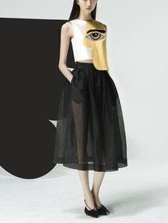 SALE: Abstract cubism--face printed top, sleeveless top, high waist design, silk and woolen weaved top