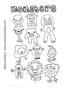 At Home With Crab Apple Designs: Free Coloring Page Day 5: Monsters