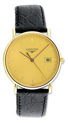 Longines La Grande Classique Champagne Dial 18kt Yellow Gold Black Alligator Leather Mens Watch L47436322