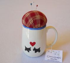 Scottie Dogs and Red Plaid  Repurposed Pincushion by GenevaDesigns, $7.00