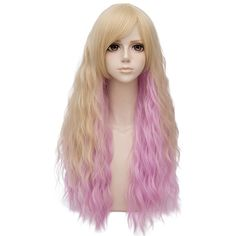 Light Blonde Mixed Pink Ombre Long 28 Inches Curly With Bangs Heat... ($20) ❤ liked on Polyvore featuring beauty products, haircare, hair styling tools and curly hair care
