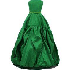 OSCAR DE LA RENTA Strapless Bubble Hem Gown ($5,290) ❤ liked on Polyvore featuring dresses, gowns, vestidos, green, long dresses, kelly, green dress, green strapless dress, silk gown and oscar de la renta gown