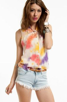Sunburst Button Up Top $44 at www.tobi.com