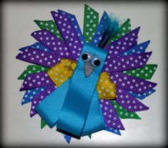 Super Sweet Sculpted Peacock Hair Bow by sotweetbowtique on Etsy, $5.00