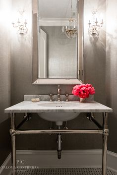 Paloma Contreras - bathrooms - powder rooms, powder room mirrors, white and gray powder room, chic powder rooms, glam powder rooms, beaded m...