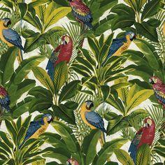Grandeco Ideco Exotic Bird Pattern Parrot Motif Leaf Wallpaper A11502