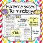 Evidence Based Terminology   These Evidence Based Terminology guides include the formal language students must use when citing text evidence, as well as references from fiction and nonfiction.   If your students struggle to use the proper transition words and phrases necessary to present evidence, these posters and handouts should help.