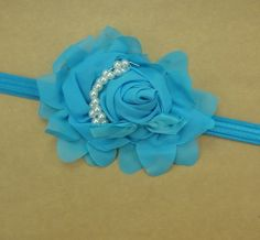 Turquoise Baby-Toddler-Kids Pearl Silk Rose Headband Headbands Hair b18 #unbranded