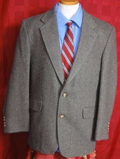 Land's End Brown Wool 2 Button Fully Lined Sport Coat Size 41R #LandsEnd #TwoButton