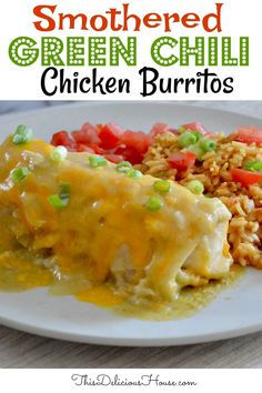 Green Chili Chicken Smothered Burritos are hands down the tastiest weeknight dinner that everyone will love! Made with rotisserie chicken and a simple green chili sauce. Don't miss this amazing Mexican food chicken burrito recipe. #greenchiliburritos #smotheredchickenburritos
