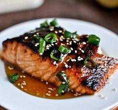 Toasted Sesame Ginger Salmon Recipe Main Dishes with salmon, olive oil, toasted… Fish Recipes, Seafood Recipes, Cooking Recipes, Healthy Recipes, Asian Recipes, Tilapia Recipes, Cooking Games, Delicious Recipes, Recipies