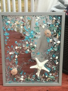 Large Beach Glass and Starfish in gray Frame Beach Glass Wave