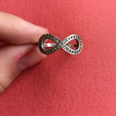 Sterling sliver, cubic zirconium infinity ring. Size 6 ring. Real sterling silver! Jewelry Rings