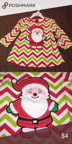 Nursery Rhyme chevron Santa top Brand new! Green and red chevron print top with Santa appliqué. Nursery Rhyme Shirts & Tops