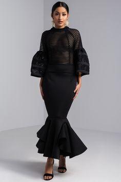 1e1ab801d72 AKIRA Semi Sheer Frill Hem Zip Up Flounce Sleeve Midi Dress in Black