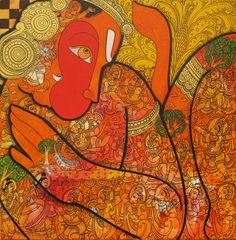 KYNKYNY is an online gallery that showcases a curated selection of original artworks by emerging and established Indian artists at affordable prices. Sketch Painting, Silk Painting, Goddess Art, Indian Artist, Hanuman, Online Gallery, Art And Architecture, Folk Art, Art Decor