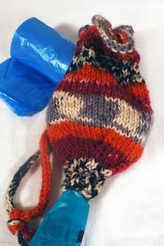 Hand Knit Pet Waste Bag HOLDER 011 by The Thrifty Needle on Etsy, $12.00