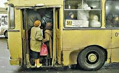 Soviet every day life, 80s. It looks like everyday Dublin life on the buses in the 80s :-()