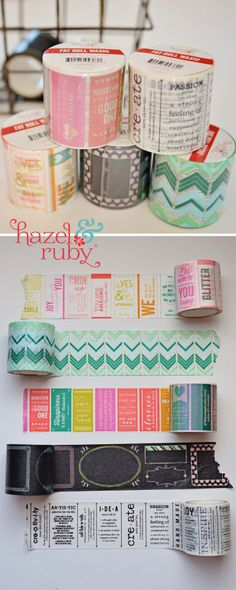 Pin to Win >>> Fat Roll Washi Tapes by Hazel & Ruby - Hazel &… Diy Washi Tape Coasters, Washi Tape Crafts, Paper Crafts, Washi Tapes, Diy Paper, Tapas, Duct Tape, Masking Tape, Trombone