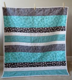 Baby quilt Toddler quilt Modern Teal White by AandEQuilts