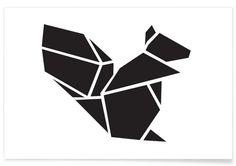 JUNIQUE Origami Eichhoernchen als Premium Poster