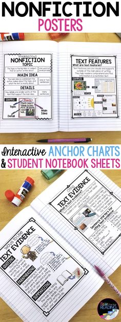 Nonfiction Reading Posters, Interactive Nonfiction Anchor Charts & Student Notebook Sheets! Includes text features poster, text structures poster, fact vs. opinion poster, text evidence poster, and more! Text Features Anchor Chart   Text Structures Anchor Chart   Main Idea and Details Anchor Chart   Main Idea and Details Poster   Citing Text Evidence   Finding Text Evidence