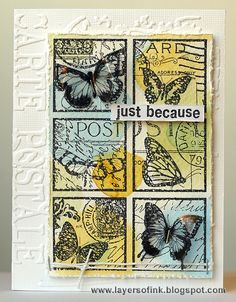 Butterfly Post Collage - Layers of ink. Made with Darkroom Door Butterfly Post Collage stamp, watercolours, Sizzix embossing folder and Wendy Vecchi Clearly for Art modeling film.