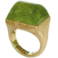 Dalben One of a Kind Green Garnet Scratch Engraved Rose Gold  Ring | From a unique collection of vintage fashion rings at https://www.1stdibs.com/jewelry/rings/fashion-rings/
