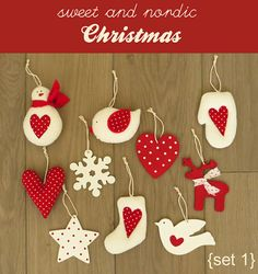 Christmas tree handmade decorations/ornaments set - wood and fabric - nordic red and white (set1)
